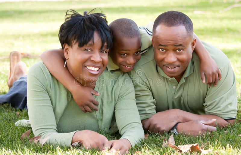 afrikansk amerikanfamiljpark fotografering för bildbyråer