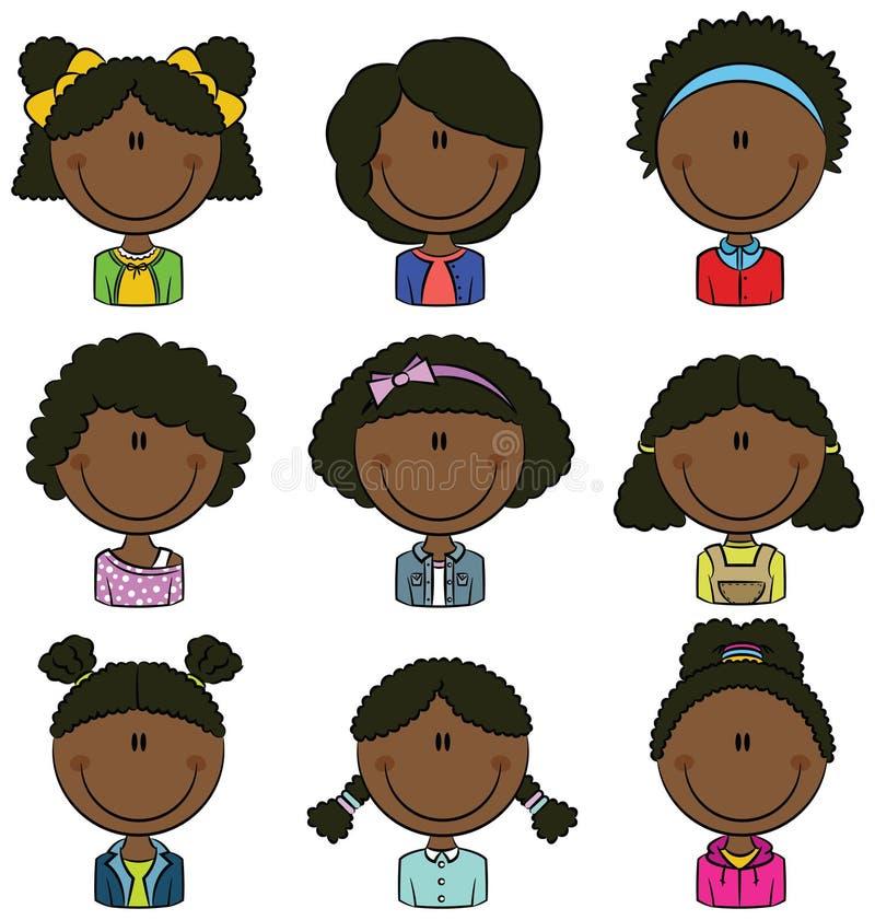 Afrikansk amerikanflickaAvatar stock illustrationer