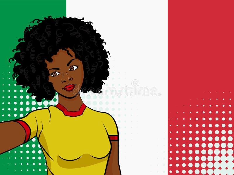 afrikansk amerikanflickan gör selfie främst av nationsflaggan Italien i illustration för stil för popkonst Beståndsdel av illustr stock illustrationer