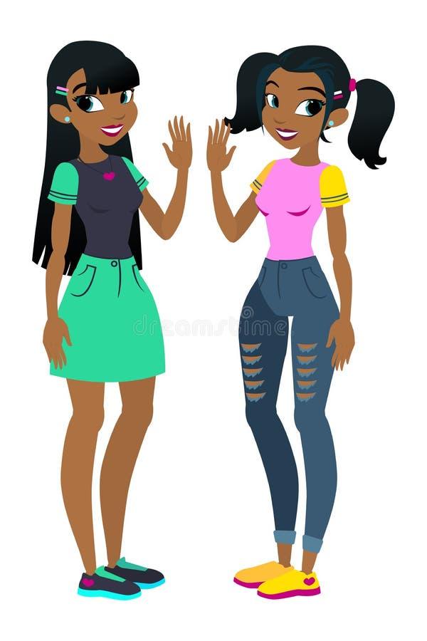 Afrikansk amerikanflickor för tonåring s med svart hår tecken Isolerat mot vitbakgrund Bygg din egen design bil vektor illustrationer