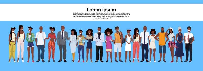 Afrikansk amerikanfolkgrupp som tillsammans står den manliga kvinnliga tecknade filmen för fastställda för mankvinnaaffär arbetar stock illustrationer