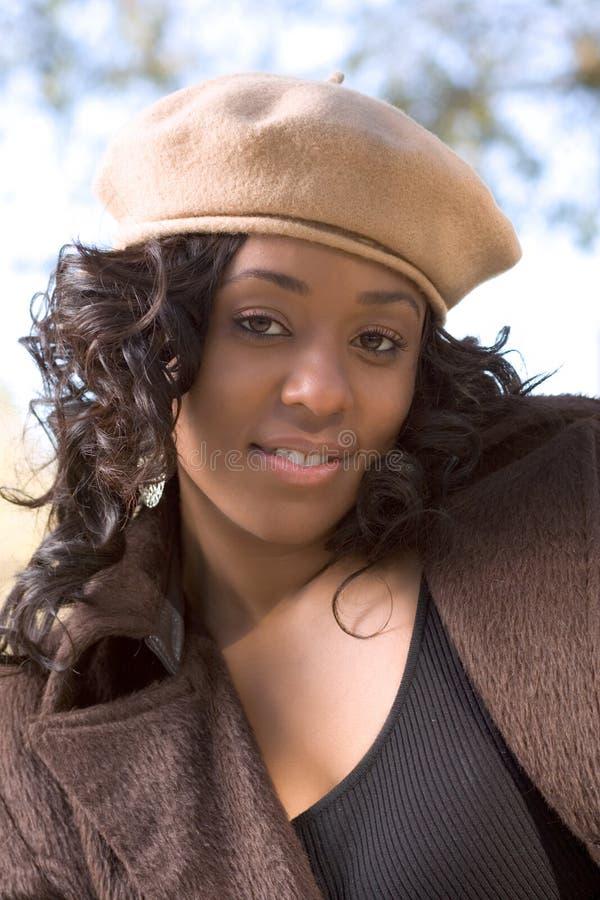 afrikansk amerikanhattkvinna arkivbilder