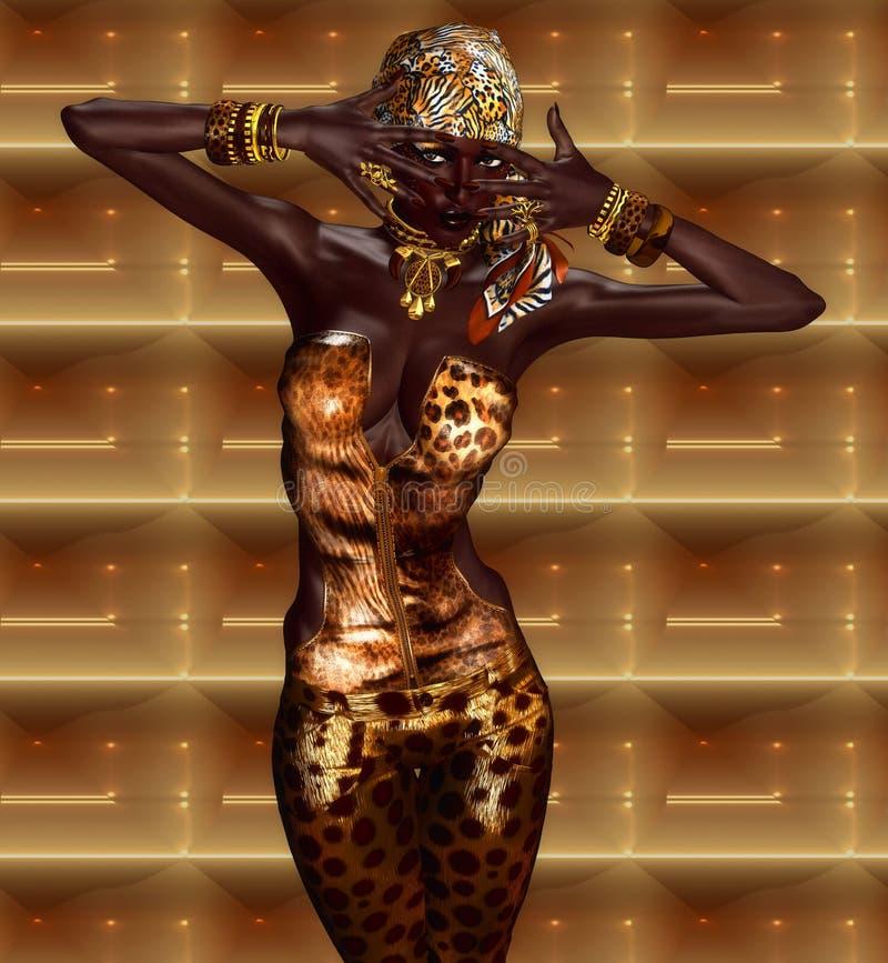 Afrikansk amerikankvinna i leopardtryckmode med härliga skönhetsmedel stock illustrationer