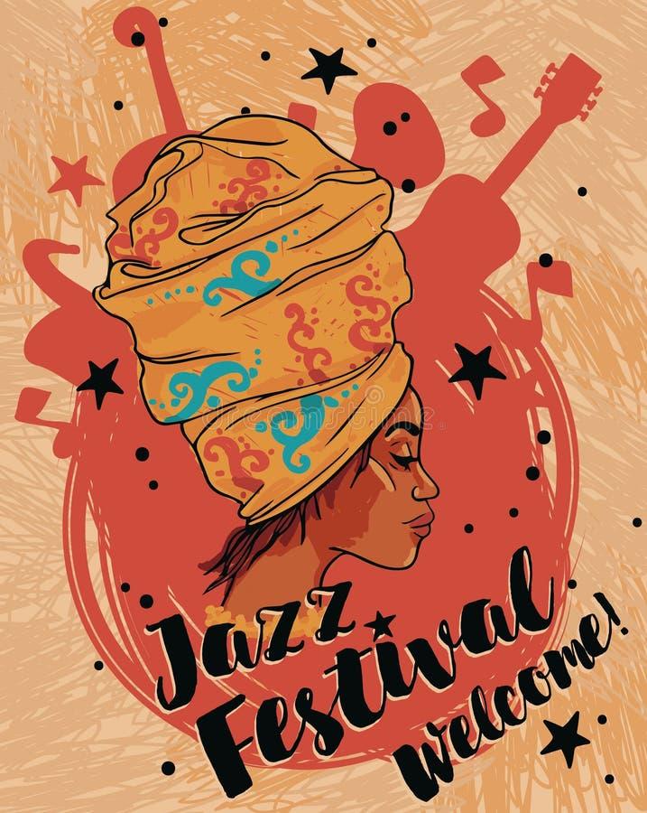 Afrikansk amerikankvinna och musikinstrument vektor illustrationer