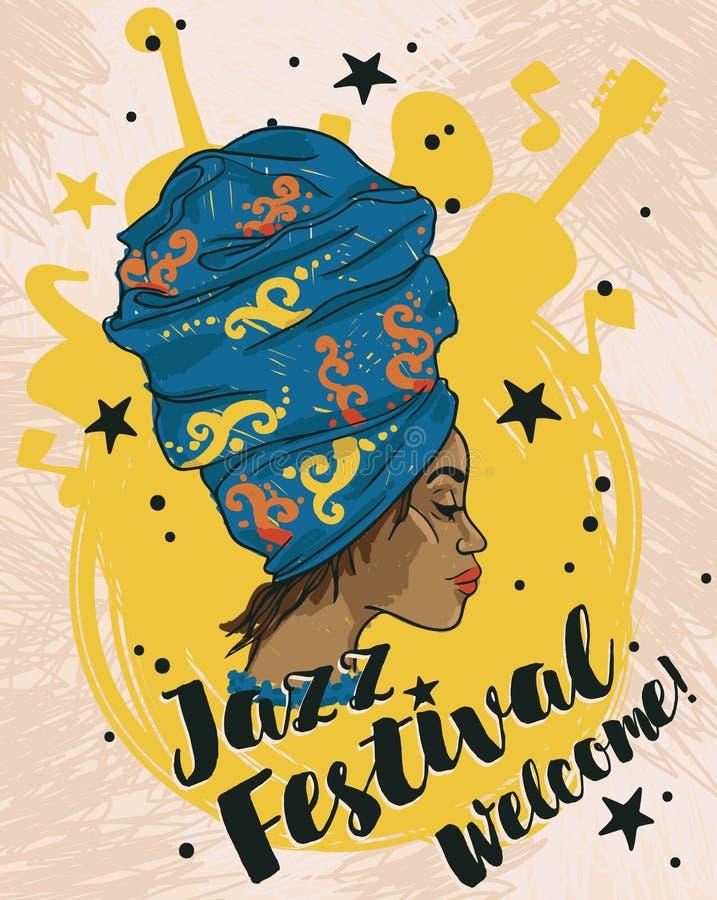 Afrikansk amerikankvinna och musikinstrument royaltyfri illustrationer