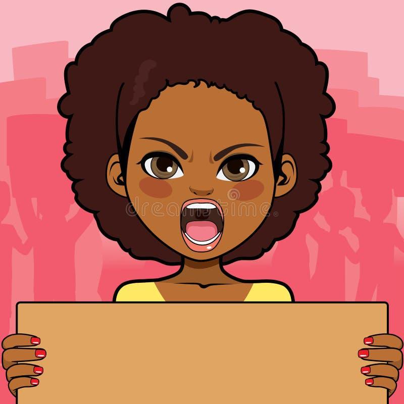 Afrikansk amerikankvinnaprotest royaltyfri illustrationer