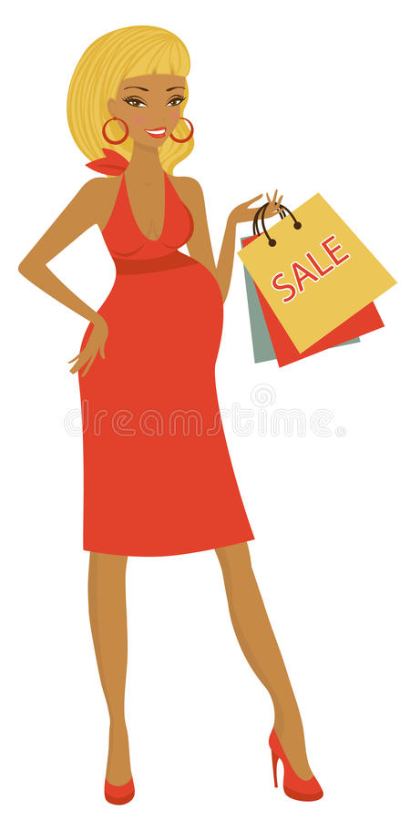 Afrikansk amerikankvinnashopping stock illustrationer