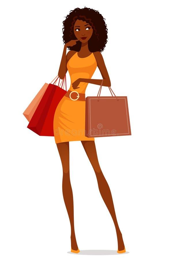 Afrikansk amerikankvinnashopping stock illustrationer