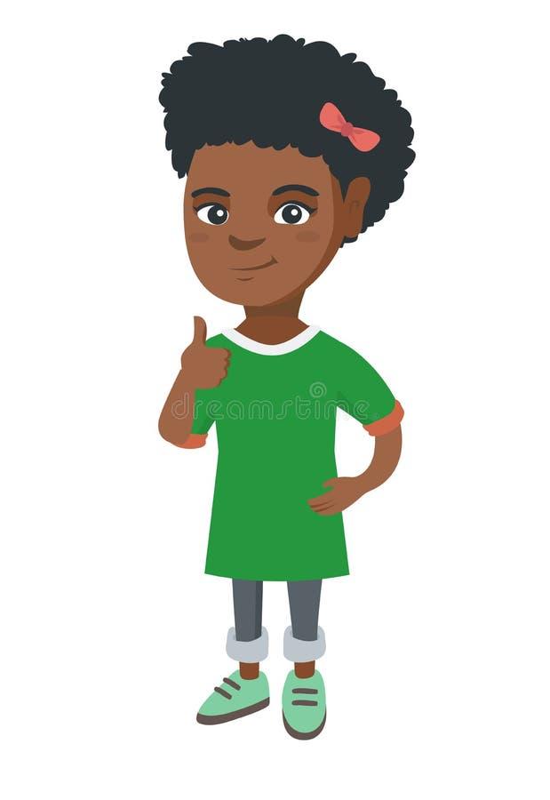 Afrikansk amerikanliten flicka som ger upp tummen vektor illustrationer