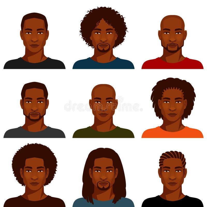 Afrikansk amerikanmän med den olika frisyren royaltyfri illustrationer