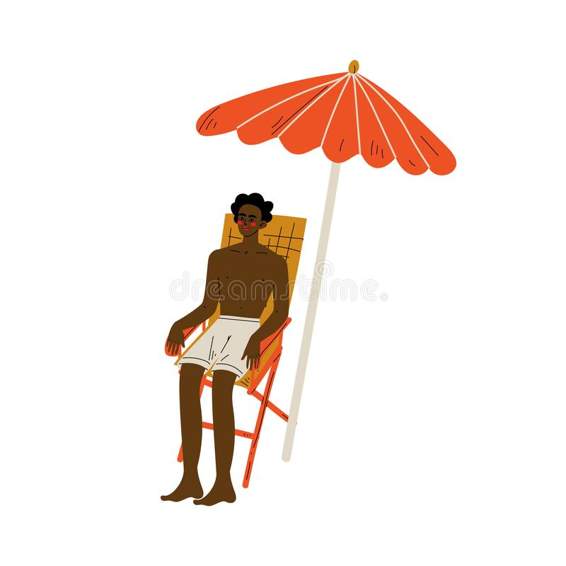 Afrikansk amerikanman i kortslutningar som sitter i Chaise Lounge Under Sunshade Parasol, Guy Relaxing på stranden på sommar stock illustrationer