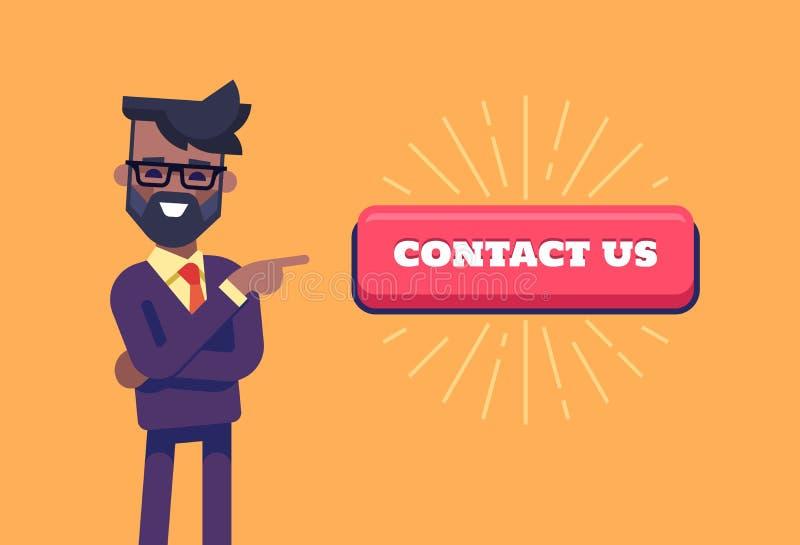 Afrikansk amerikanmannen med skägget i formell dräkt som pekar vid pekfingret till knappen med inskriften, kontaktar oss royaltyfri illustrationer