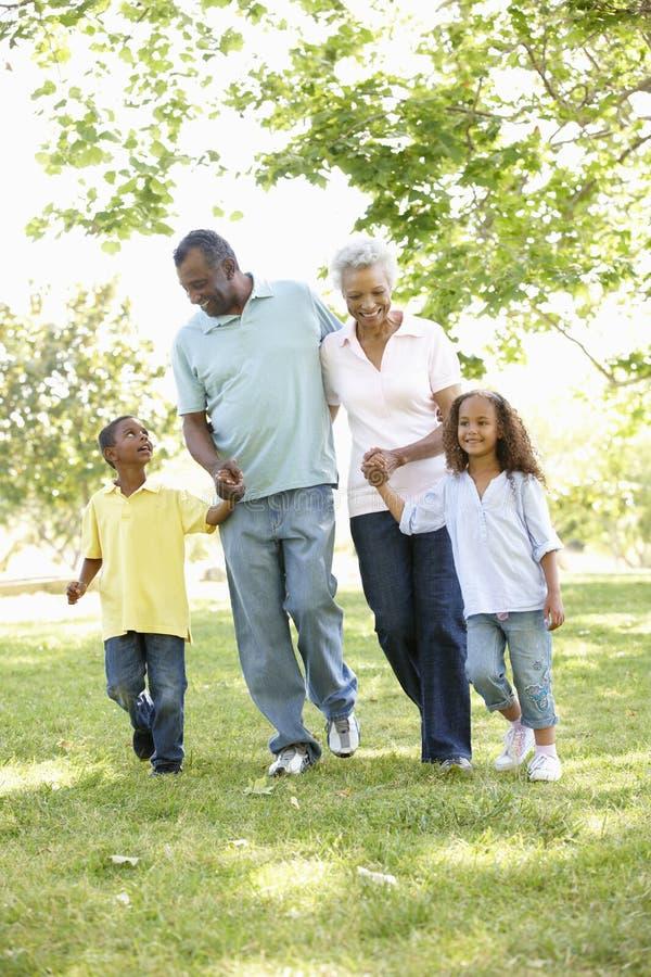 Afrikansk amerikanmorföräldrar med barnbarn som in går, parkerar royaltyfria foton