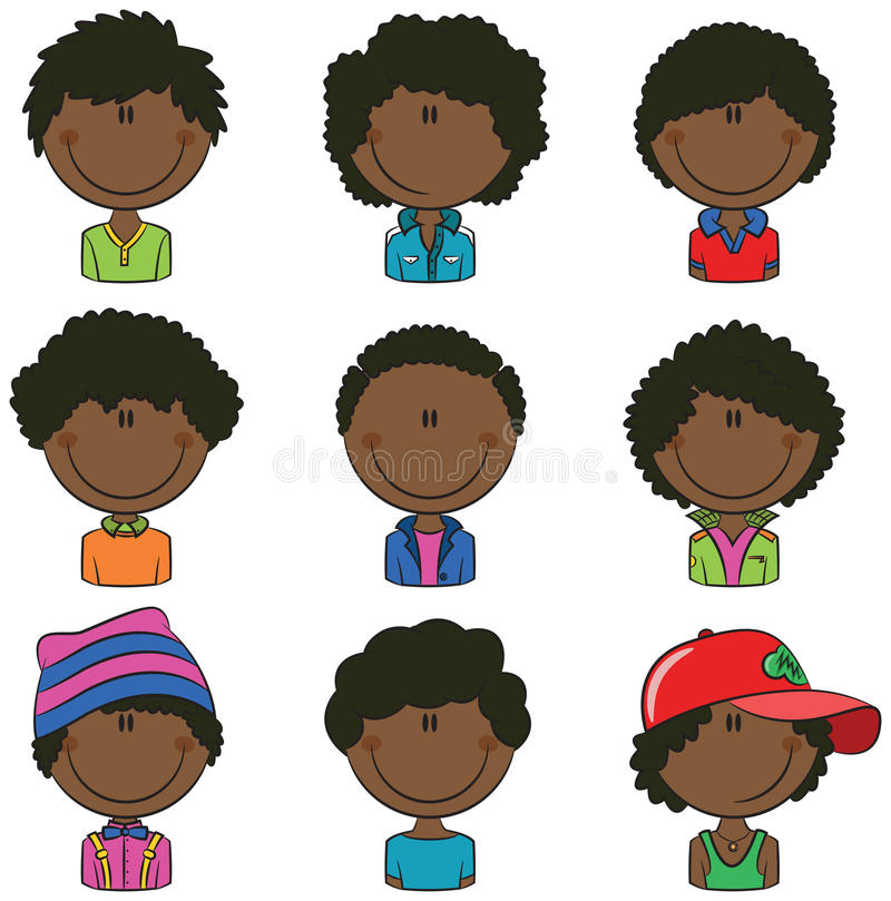 Afrikansk amerikanpojkeAvatar stock illustrationer