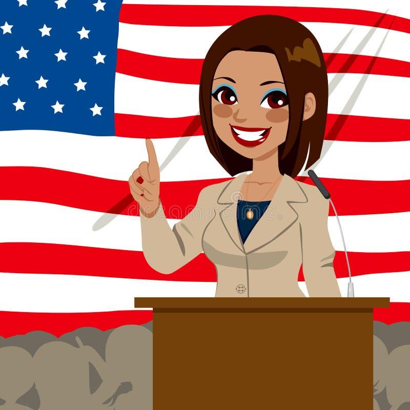 Afrikansk amerikanpolitiker Woman Flag royaltyfri illustrationer