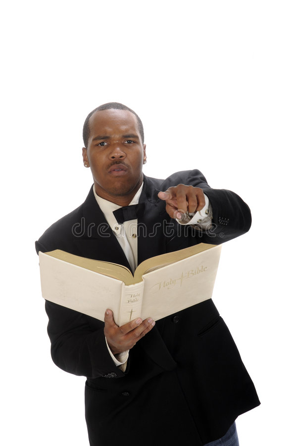 Afrikansk amerikanpreacher som ger predikan arkivfoton