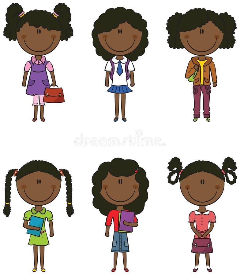 Afrikansk amerikanskolaflicka stock illustrationer