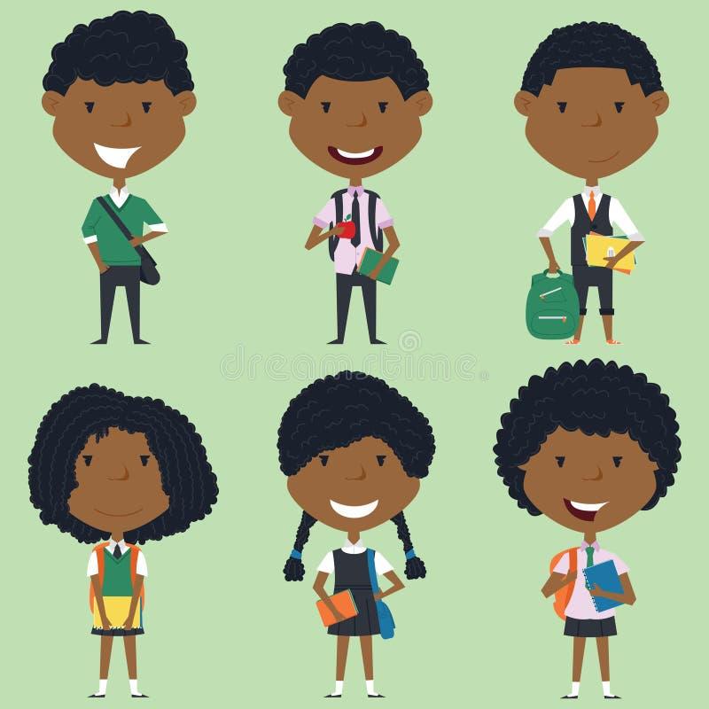 Afrikansk amerikanskolapojkar och flickor som står med böcker och b stock illustrationer
