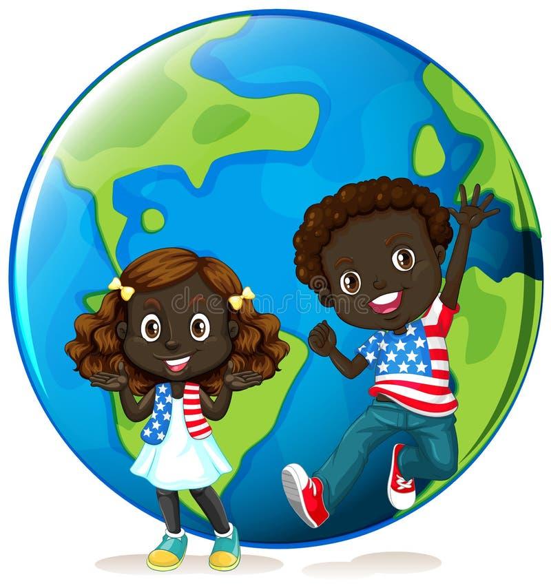 Afrikansk amerikanungar på jord vektor illustrationer