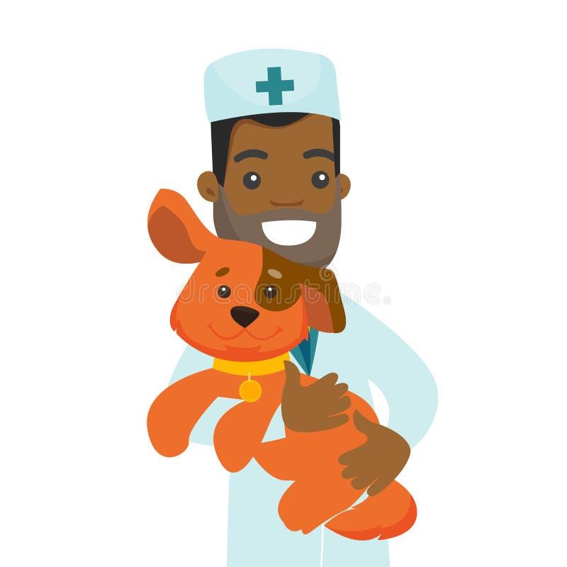 Afrikansk amerikanveterinär med hunden i händer royaltyfri illustrationer