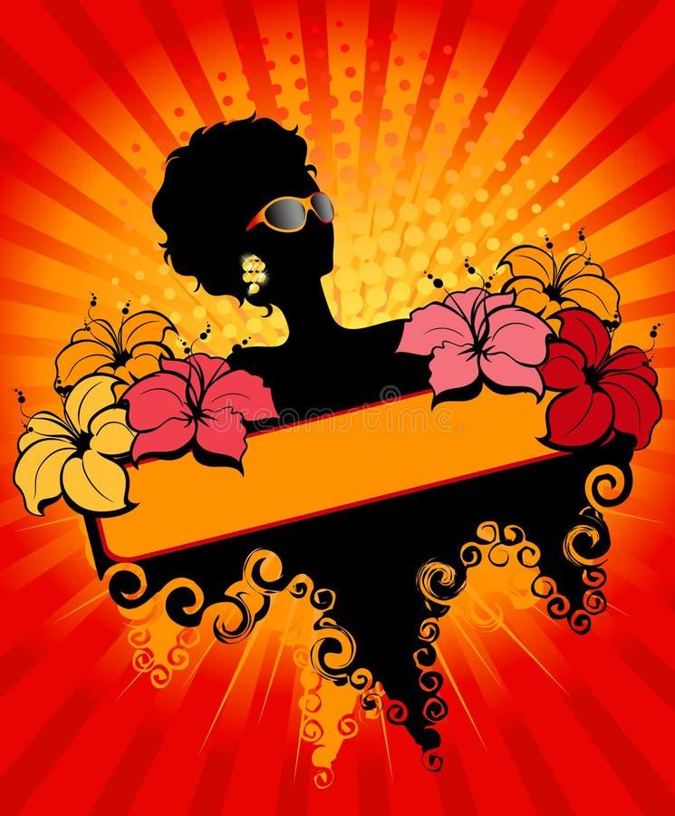 afrikansk banerflicka royaltyfri illustrationer