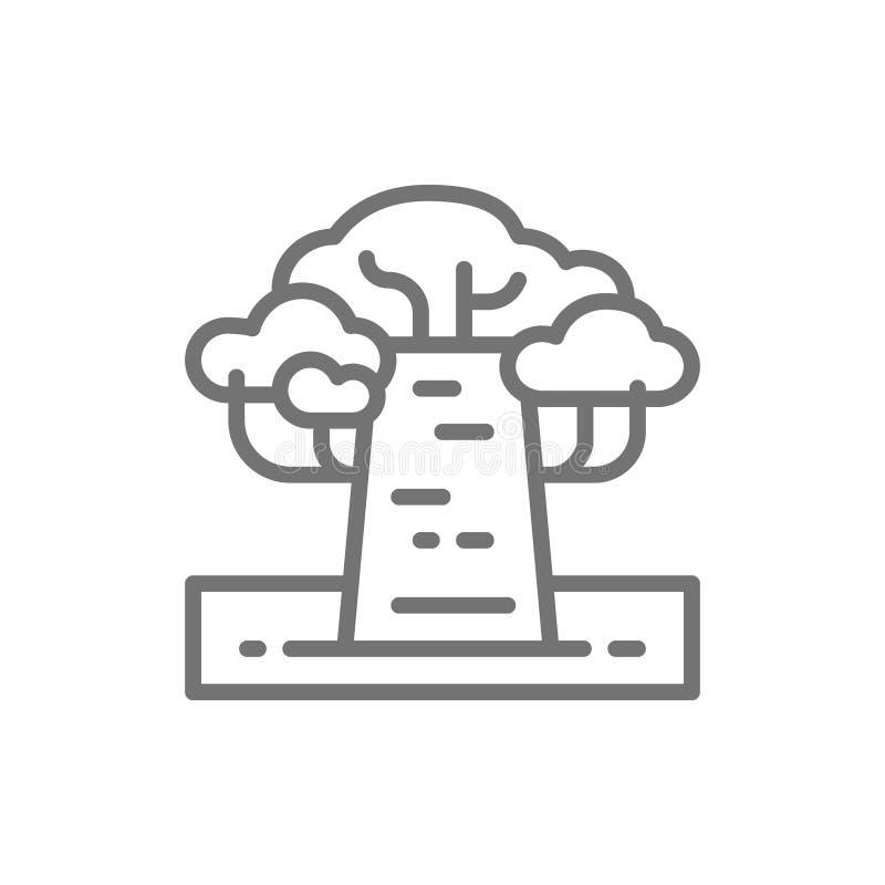 Afrikansk baobabträdlinje symbol royaltyfri illustrationer