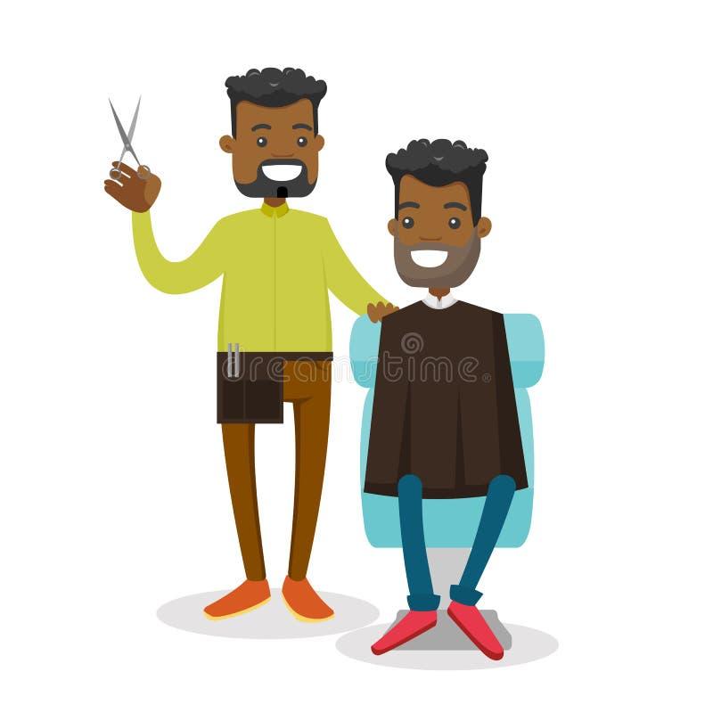 Afrikansk barberare som gör en frisyr till en ung man royaltyfri illustrationer