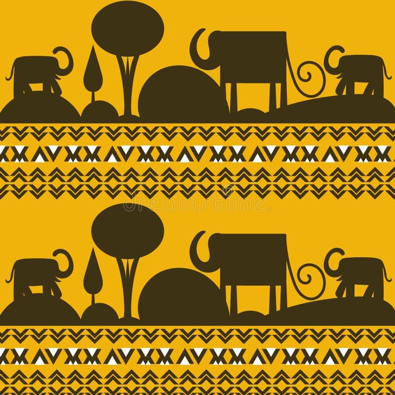 Afrikansk bild för landskapvektorbakgrund med elefanter royaltyfri illustrationer