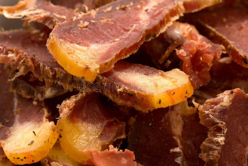 afrikansk biltong torkade meatmellanmålsöder arkivbild