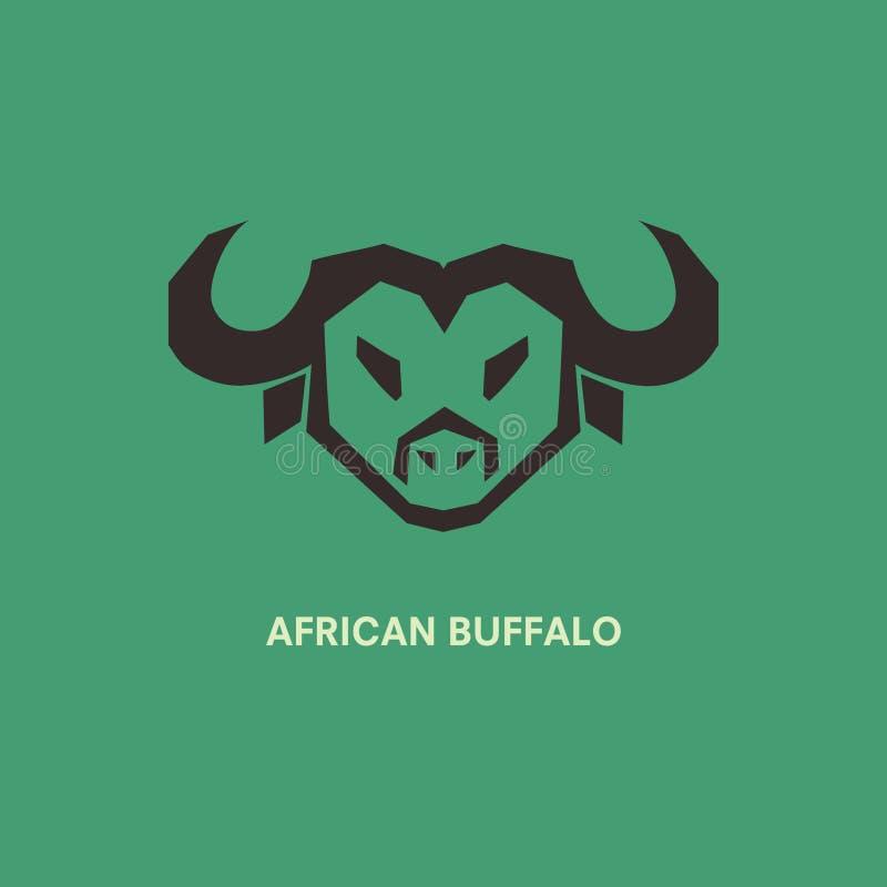 Afrikansk buffelhuvudsymbol som isoleras på grön bakgrund Djur logo för dig design royaltyfri illustrationer