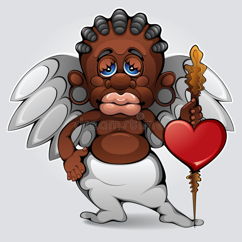 afrikansk cupid royaltyfri illustrationer