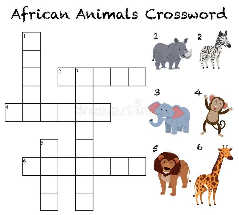Afrikansk djurkorsordbakgrund royaltyfri illustrationer