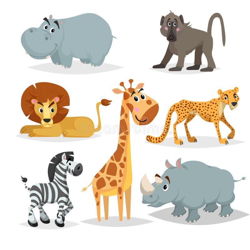 Afrikansk djurtecknad filmuppsättning Flodhäst, babianapa, lejon, giraff, gepard, sebra och noshörning Zoodäggdjursamling Vektori stock illustrationer
