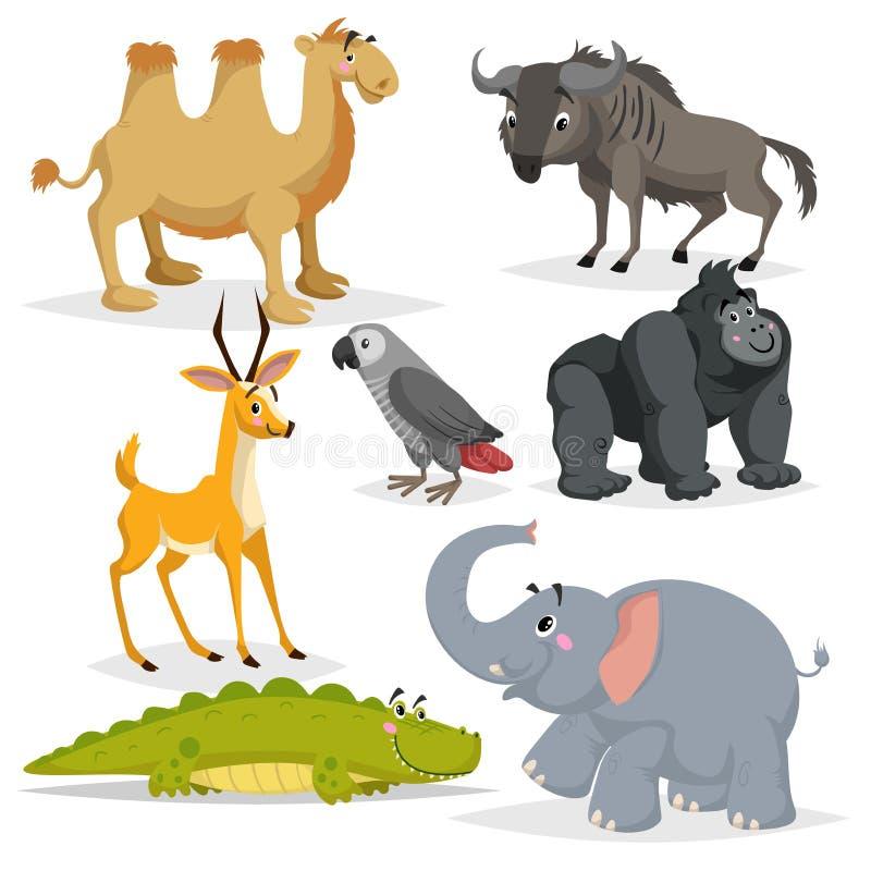 Afrikansk djurtecknad filmuppsättning Gorillaapa, grå färgpapegoja, elefant, gasellantilop, krokodil, bactrian kamel och gnu Zo royaltyfri illustrationer