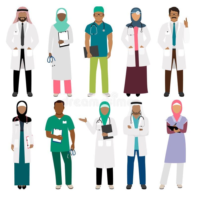 Afrikansk doktor och arabiska sjuksköterskatecken stock illustrationer