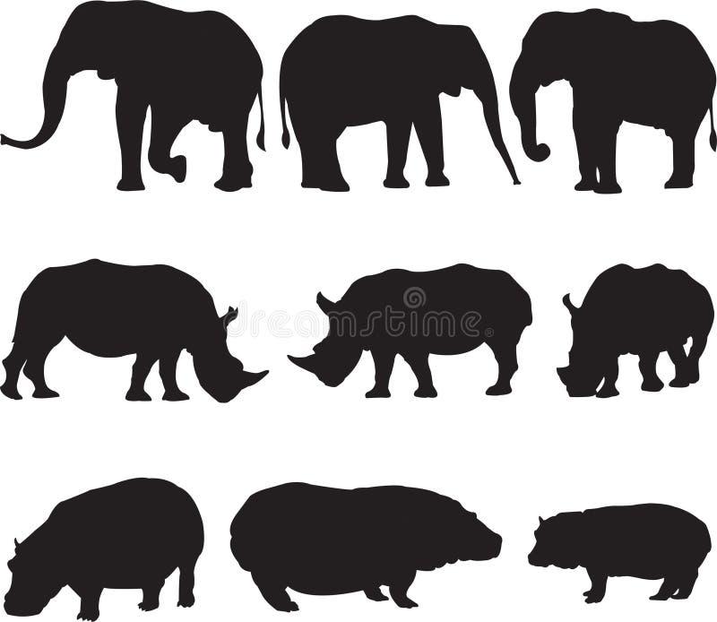 Afrikansk elefant, vit noshörning och flodhästkonturkontur arkivbild