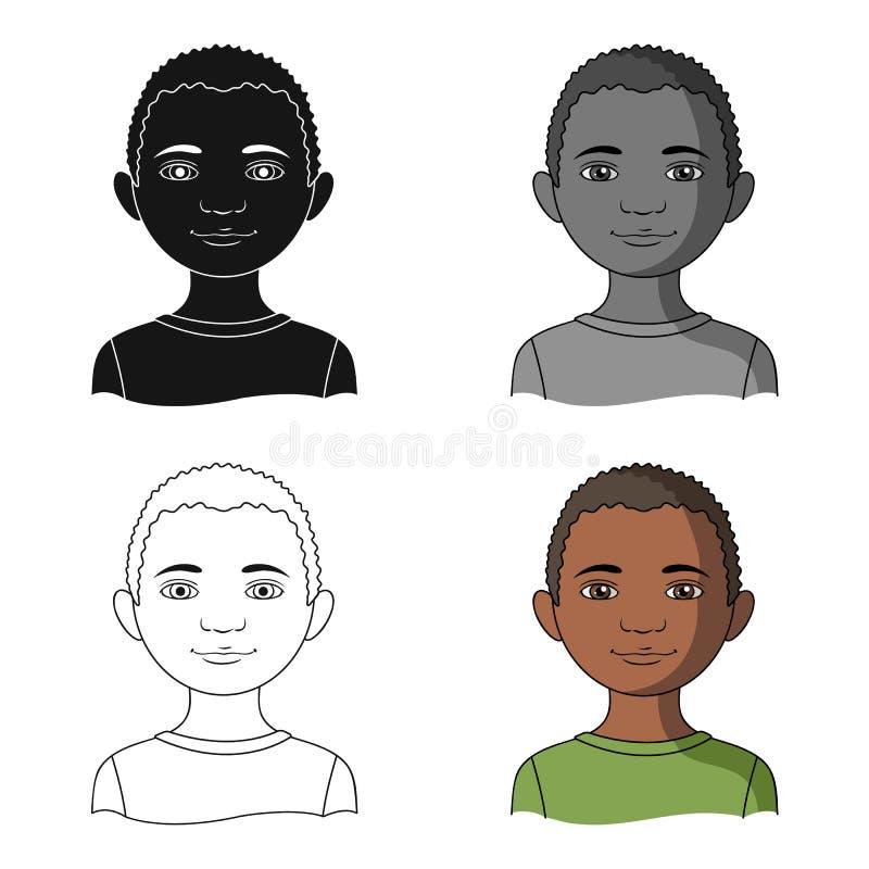 afrikansk Enkel symbol för människosläkte i rengöringsduk för illustration för materiel för symbol för tecknad filmstilvektor stock illustrationer
