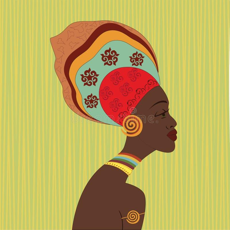 Afrikansk etnisk kvinnaframsida Profile beskådar Ung attraktiv flicka från stammen med den färgrika turbanen vektor illustrationer