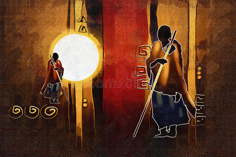 Download Afrikansk Etnisk Retro Tappningillustration Stock Illustrationer - Illustration av person, safari: 106830095