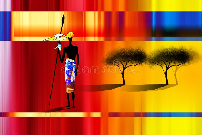 Afrikansk etnisk retro tappningillustration stock illustrationer