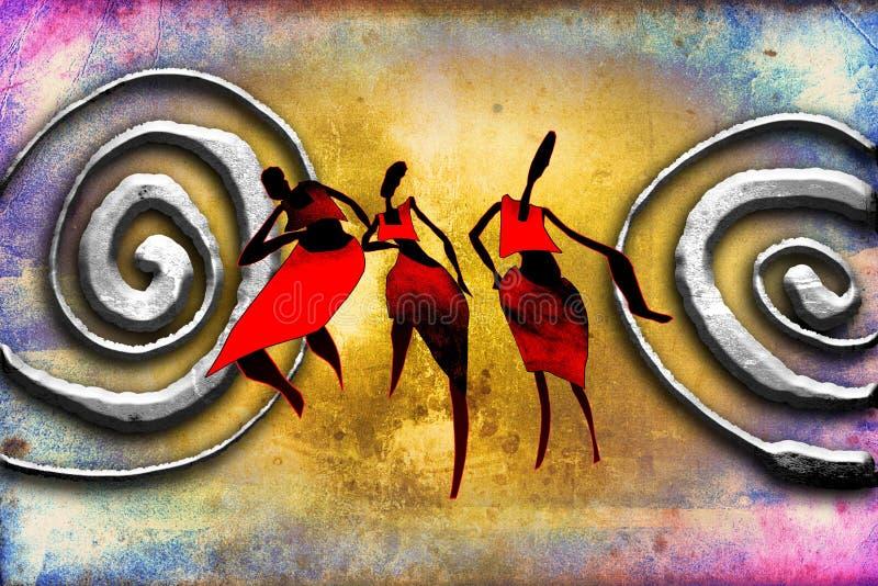Afrikansk etnisk retro tappningkonst royaltyfri illustrationer