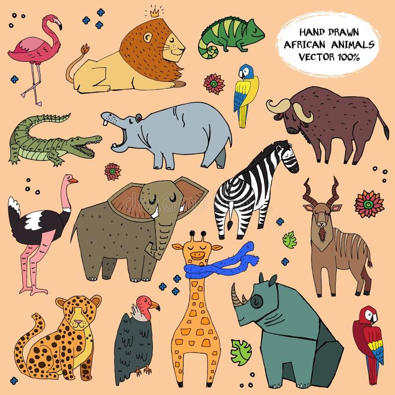 Afrikansk för illustrationvektor för djur hand dragen uppsättning royaltyfri illustrationer