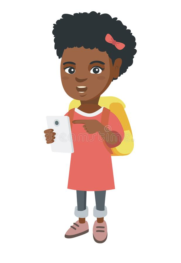 Afrikansk flicka med ryggsäcken som pekar på mobiltelefonen vektor illustrationer