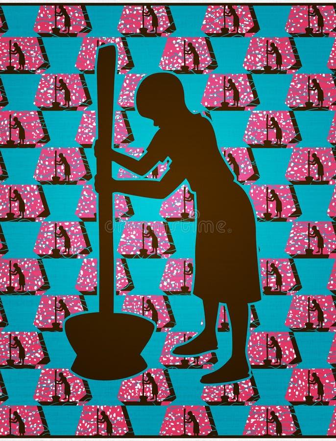 Afrikansk flickadanandemat vektor illustrationer