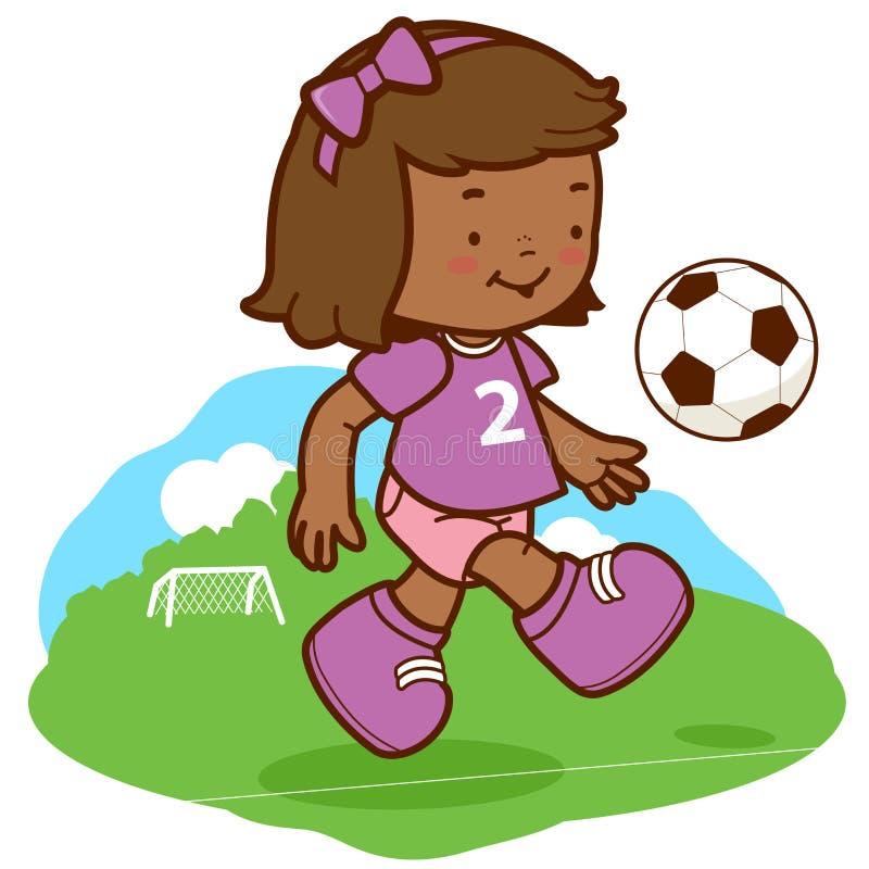 Afrikansk flickafotbollspelare vektor illustrationer