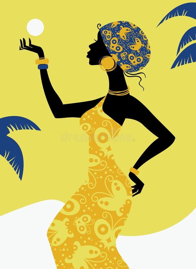 afrikansk flickasilhouette stock illustrationer