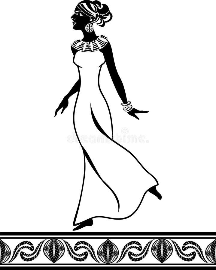 afrikansk flickastencilstil royaltyfri illustrationer