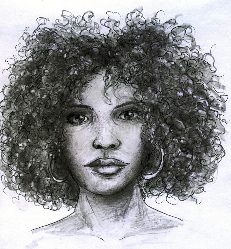 afrikansk framsidaflicka vektor illustrationer