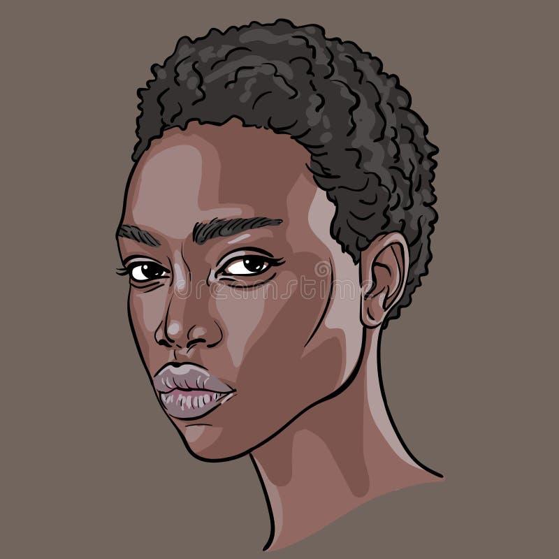 afrikansk framsidakvinna Ståendetecknad filmstil vektor illustration royaltyfri illustrationer
