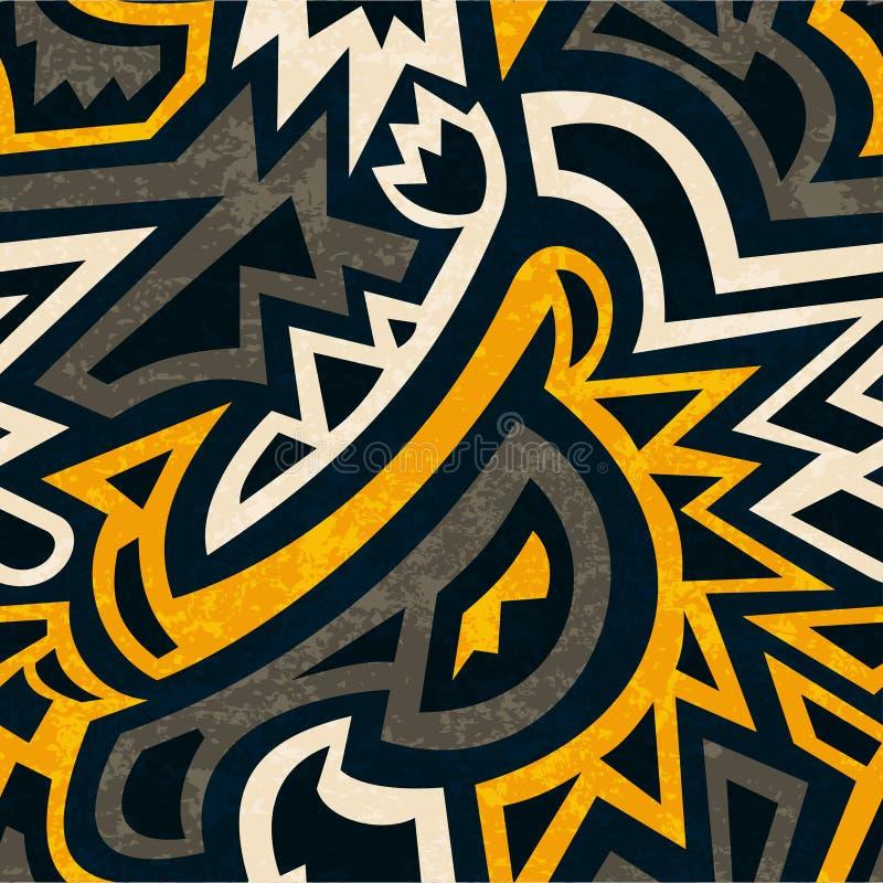 Afrikansk geometrisk sömlös modell med grungeeffekt vektor illustrationer